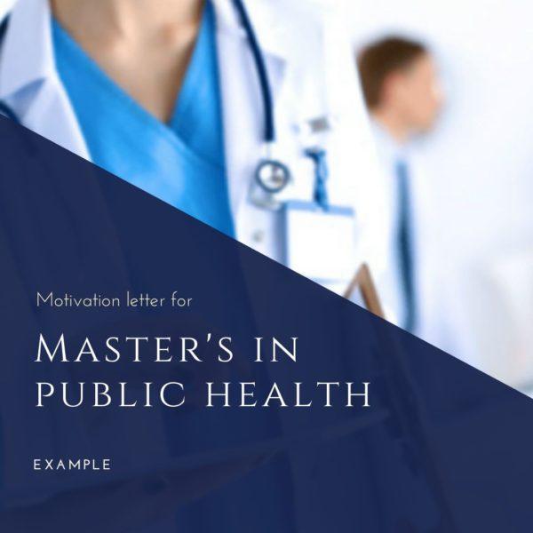 Motivation letter sample for Master's in public health